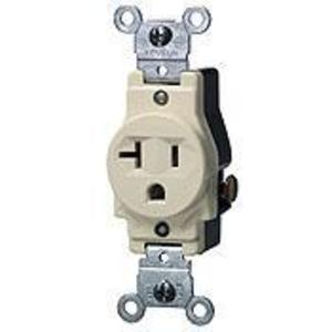 Leviton 5801-T Single Receptacle, 20A, 125V, 5-20R, Light Almond
