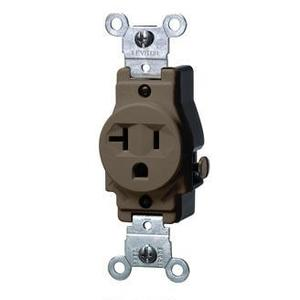 Leviton 5801 Single Receptacle, 20A, 125V, 5-20R, Brown