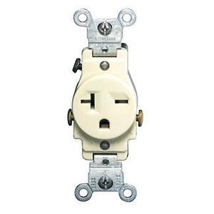 Leviton 5821-I Single Receptacle, 20A, 250V, 6-20R, Ivory, Side Wired