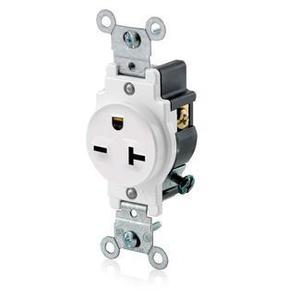 Leviton 5821-W Single Receptacle, 20A, 250V, 6-20R, White, Side Wired