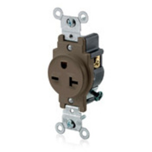 Leviton 5821 Single Receptacle, 20A, 250V, 6-20R, Brown, Side Wired