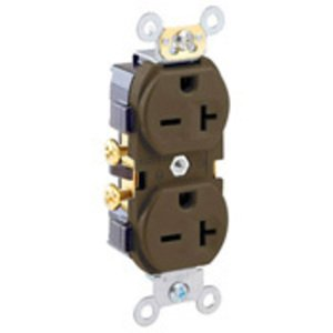 Leviton 5822 20A Duplex Receptacle, 250V, 6-20R, Brown, Side Wired, Spec Grade