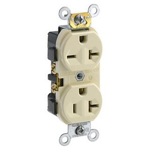 Leviton 5842-I 20 Amp Dual Voltage Duplex Receptacle, 125/250V, 5-20R/6-20R, Ivory