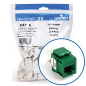 Leviton 61110-BV6 Jack Cat 6 Grn Bulk 25