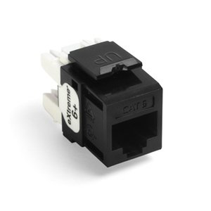 Leviton 61110-RE6 Snap-In Connector, Quickport, eXtreme 6+, CAT 6, Black