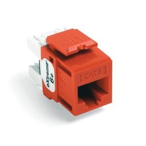 Leviton 61110-RO6 Snap-In Connector, Quickport, eXtreme 6+, CAT 6, Orange, 50 in Bag