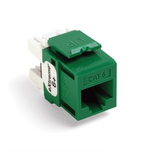 Leviton 61110-RV6 Snap-In Connector, Quickport, eXtreme 6+, CAT 6, Green, 50 in a Bag