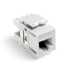 Leviton 61110-RW6 Snap-In Connector, Quickport, eXtreme 6+, CAT 6, White, 50 in a Bag