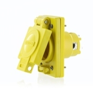 Leviton 68W82 30 Amp, 277/480 Volt, 3-Phase WYE, NEMA L22-30 , 4P, 5W, Single Locking Inlet with IP66 Rated Cover, Industrial Grade, Grounding, Corrosion Resistant, Wetguard - YELLOW