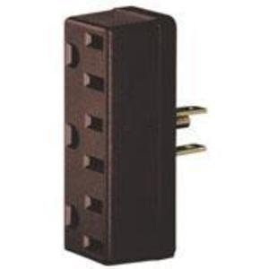 Leviton 697 15 Amp NEMA 5-15, 3-Outlet Adapter, Brown