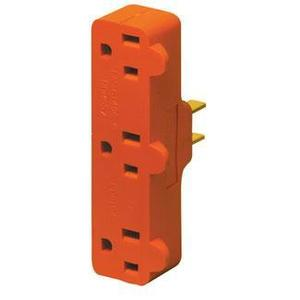 Leviton 699 15 Amp NEMA 5-15, 3-Outlet Adapter, Orange