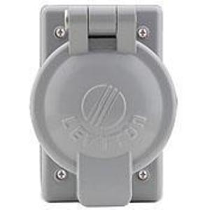 Leviton 7770 1-Gang, 50 Amp Receptacle Flip Lid Cover, Gray
