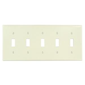 Leviton 78023 Toggle Switch Wallplate, 5-Gang, Thermoset, Lt. Almond