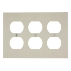 Leviton 78030 Duplex Receptacle Wallplate, 3-Gang, Thermoset, Lt. Almond