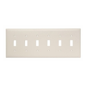 Leviton 78036 Toggle Switch Wallplate, 6-Gang, Thermoset, Lt. Almond