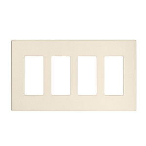 Leviton 80312-ST Screwless Decora Wallplate, 4-Gang, Polycarbonate, Lt. Almond