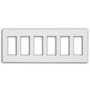 Leviton 80326-SW Screwless Decora Wallplate, 6-Gang, Polycarbonate, White