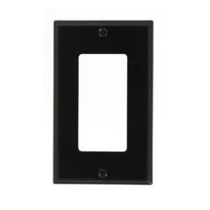 Leviton 80401-NE Decora Wallplate, 1-Gang, Nylon, Black