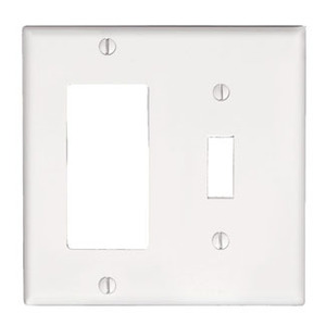 Leviton 80405-W Comb. Wallplate, 2-Gang, Toggle/Decora, Thermoset, White, Standard