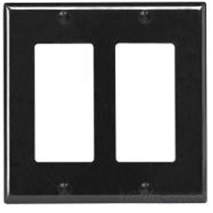 Leviton 80409-E Decora Wallplate, 2-Gang, Thermoset, Black