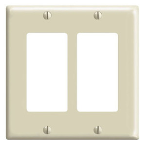 Leviton 80409-I Decora Wallplate, 2-Gang, Thermoset, Ivory
