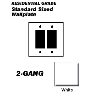 Leviton 80409-W Decora Wallplate, 2-Gang, Thermoset, White