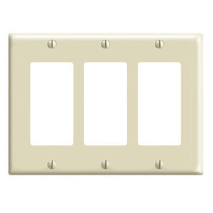 Leviton 80411-I Decora Wallplate, 3-Gang, Thermoset, Ivory