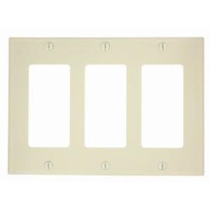 Leviton 80411-NI Decora Wallplate, 3-Gang, Nylon, Ivory
