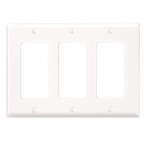 Leviton 80411-NW Decora Wallplate, 3-Gang, Nylon, White