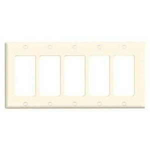 Leviton 80423-T Decora Wallplate, 5-Gang, Thermoset, Lt. Almond