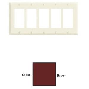 Leviton 80423 Decora Wallplate, 5-Gang, Thermoset, Brown