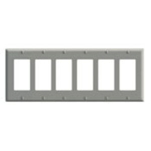 Leviton 80436-GY Decora Wallplate, 6-Gang, Thermoset, Gray
