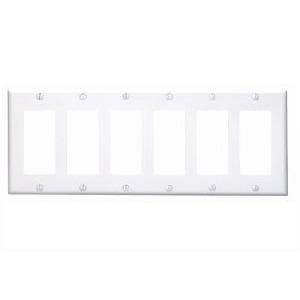 Leviton 80436-W Decora Wallplate, 6-Gang, Thermoset, White