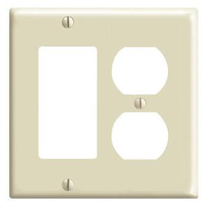 Leviton 80455-I Comb. Wallplate, 2-Gang, Duplex/Decora, Thermoset, Ivory, Standard