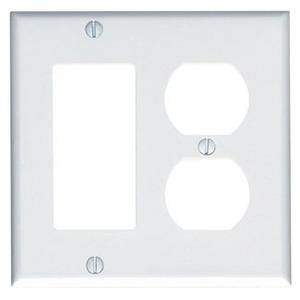 Leviton 80455-W Comb. Wallplate, 2-Gang, Duplex/Decora, Thermoset, White, Standard