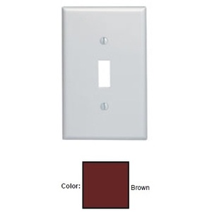 Leviton 80501 Toggle Wallplate, 1-Gang, Thermoset, Brown, Midway