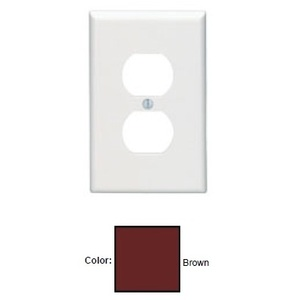 Leviton 80503 Duplex Receptacle Wallplate, 1-Gang, Thermoset, Brown, Midway