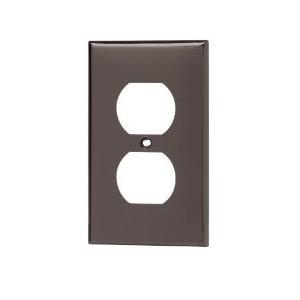 Leviton 80703 Duplex Receptacle Wallplate, 1-Gang, Nylon, Brown