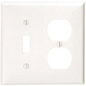 Leviton 80705-R Combination Wallplate, 2-Gang, Toggle/Duplex, Nylon, Red, Standard