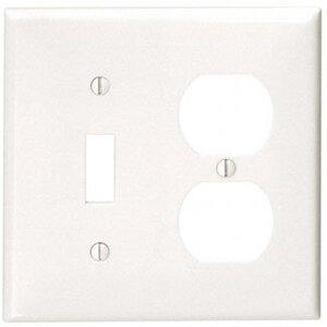Leviton 80705-W Combo Wallplate, 2-Gang, Toggle/Duplex, Nylon, White, Standard