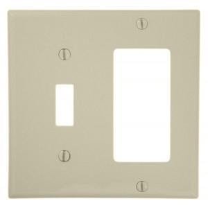 Leviton 80707-T Comb. Wallplate, 2-Gang, Toggle/Decora, Nylon, Lt Almond, Standard
