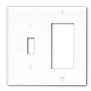 Leviton 80707-W Comb. Wallplate, 2-Gang, Toggle/Decora, Nylon, White, Standard
