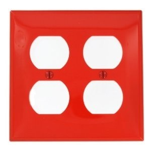 Leviton 80716-R Duplex Receptacle Wallplate, 2-Gang, Nylon, Red