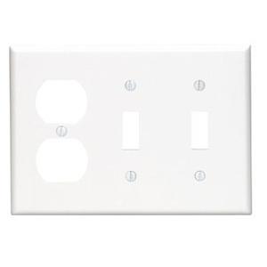 Leviton 80721-W Comb. Wallplate, 3-Gang, (2) Toggle, (1) Duplex, Nylon, White