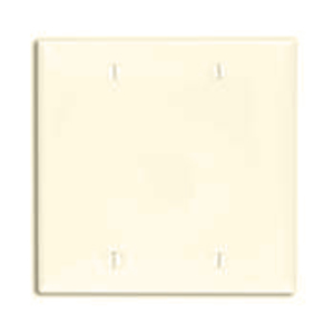 Leviton 80725-T Blank Wallplate, 2-Gang, Nylon, Light Almond Standard, Box Mount