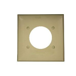 "Leviton 80726-I 2-Gang Single Rcpt Wallplate, (1) 2.150"" Hole, IV Nylon"