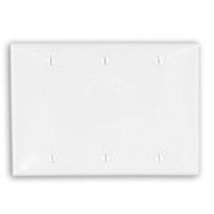Leviton 80735-W Blank Wallplate, 3-Gang, Nylon, White, Standard, Box Mount