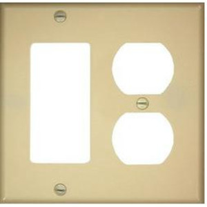 Leviton 80746-I Comb. Wallplate, 2-Gang, Duplex/Decora, Nylon, Ivory, Standard