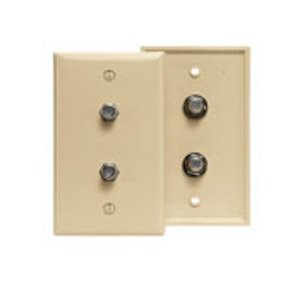 Leviton 80782-I Wall Plate, 2 x Coax/F Connector, 75 Ohm, 1-Gang, Ivory, Standard