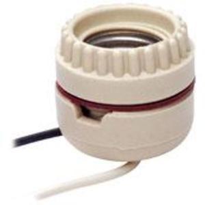 Leviton 8101 Incandescent Lampholder, Medium Base, Porcelain, Keyless, White